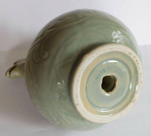 Celadon incense burner koro peacock dragon Chinese Oriental ceramic 14 cm